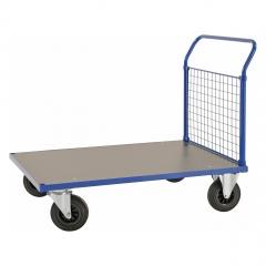 Kongamek Plattformwagen in blau 1083x700x1020mm mit MDF-Platte und Schiebebügel mit Gummibereifung ohne Bremse