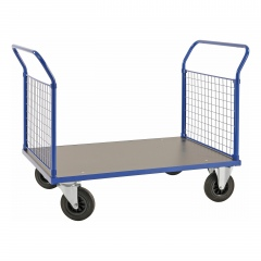 Kongamek Plattformwagen in blau 1366x800x1020mm mit MDF-Platte und 2 Schiebebügeln mit Gummibereifung ohne Bremse