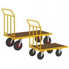 Kongamek Plattformwagen pulverbeschichtet mit MDF-Platte und Schiebebügel, wahlweise mit Bremse
