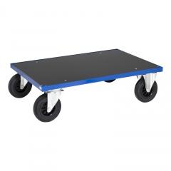 Kongamek Plattformwagen in blau mit MDF-Platte 260mm hoch, wahlweise mit Bremse