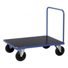 Kongamek Plattformwagen in blau 1000x700x900mm mit offenem Schiebegriff, Gummibereifung und Bremse