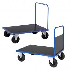 Kongamek Plattformwagen in blau 900mm hoch mit Schiebegriff offen/geschlossen, Gummibereifung, wahlweise mit Bremse