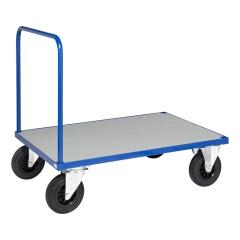 Kongamek Plattformwagen in blau 1000x700x900mm mit offenem Schiebegriff, verzinkter Ladefläche, Gummibereifung und Bremse