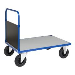 Kongamek Plattformwagen in blau 1000x700x900mm mit geschlossenem Schiebegriff, verzinkter Ladefläche und Gummibereifung ohne Bremse
