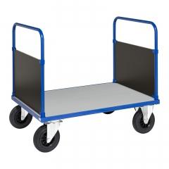 Kongamek Plattformwagen in blau 900mm hoch mit 2 Seitenwänden und verzinkter Ladefläche, wahlweise mit Bremse