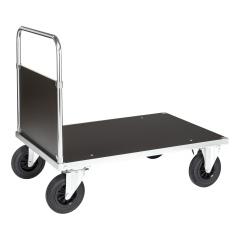Kongamek Plattformwagen, verzinkt 1000x700x900mm mit MDF-Platte, geschlossenem Schiebegriff und Gummibereifung ohne Bremse
