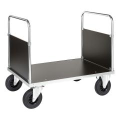 Kongamek Plattformwagen, verzinkt 900mm hoch mit 2 Seitenwänden und Ladefläche aus MDF, wahlweise mit Bremse