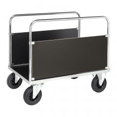Kongamek Plattformwagen, verzinkt 900mm hoch mit 2 stirnseitigen Wänden und Ladefläche aus MDF, wahlweise mit Bremse