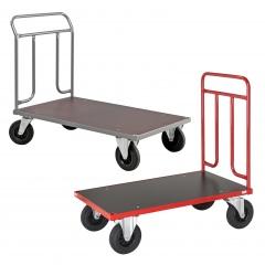 Kongamek Plattformwagen in rot oder grau 1000mm hoch mit Schiebegriff aus Stahlrohr, Gummibereifung, wahlweise mit Bremse