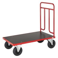 Kongamek Plattformwagen in rot 1000x600x1000mm mit Schiebegriff aus Stahlrohr und Gummibereifung mit Bremse