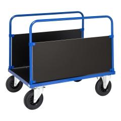 Kongamek Plattformwagen in blau 900mm hoch mit 2 stirnseitigen Wänden, wahlweise mit Bremse