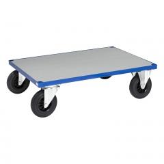 Kongamek Plattformwagen in blau 260mm hoch mit verzinkter Ladefläche, wahlweise mit Bremse