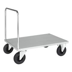 Kongamek Plattformwagen, verzinkt 1200x800x900mm Boden Stahlblech ummantelt mit offenem Schiebegriff, Gummibereifung und Bremse