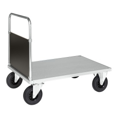 Kongamek Plattformwagen, verzinkt 1000x700x900mm mit geschlossenem Schiebegriff und Gummibereifung ohne Bremse