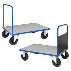Kongamek Plattformwagen in blau 900mm hoch mit Schiebegriff offen/geschlossen, verzinkter Ladefläche und Gummibereifung, wahlweise mit Bremse