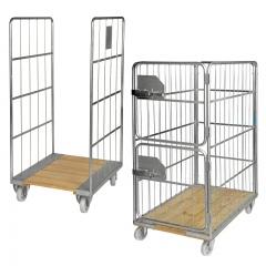Kongamek Rollcontainer verzinkt mit Holzboden und 2-4 Gitterwänden, wahlweise mit Bremse/Türen