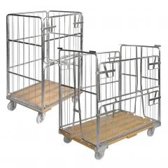 Kongamek Rollcontainer verzinkt mit Holzboden mit 4 Gitterwänden und 1 Tür in der Hälfte zu öffnen, wahlweise mit Bremse