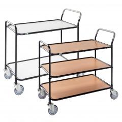 Kongamek Tischwagen aus lackiertem Stahlrohr mit 850x508mm Ladefläche und 2-3 Etagen