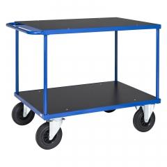 Kongamek Tischwagen in blau 870mm hoch mit MDF-Platte wahlweise mit Bremse