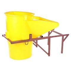 Schuttrutschen-Set Basis-Set gelb mit Trichter und Halterung bis 5,5mm Wandstärke 1m