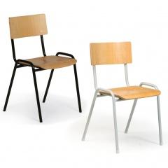 Protaurus Stapelstuhl ECO aus beschichtetem Stahl in lichtgrau/schwarz und Sitzfläche aus Buchensperrholz