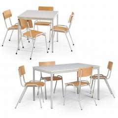 Protaurus Tisch- Stuhl- Kombination ECO aus beschichtetem Stahl/Kunststoff mit Sperrholz in lichtgrau