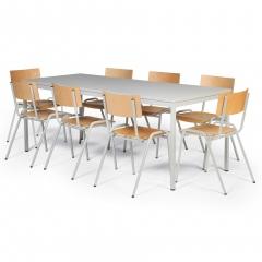 Protaurus Tisch- Stuhl- Kombination ECO aus beschichtetem Stahl/Kunststoff mit Sperrholz in lichtgrau Tischmaß 2000x800mm