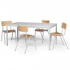 Protaurus Tisch- Stuhl- Kombination ECO aus beschichtetem Stahl/Kunststoff mit Sperrholz in lichtgrau Tischmaß 1600x800mm