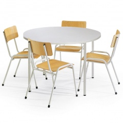 Protaurus Tisch- Stuhl- Kombination ECO aus beschichtetem Stahl/Kunststoff mit Sperrholz in lichtgrau Tisch-Ø 1000mm