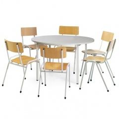 Protaurus Tisch- Stuhl- Kombination ECO aus beschichtetem Stahl/Kunststoff mit Sperrholz in lichtgrau Tisch-Ø 1200mm
