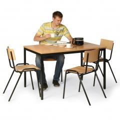 Protaurus Tisch- Stuhl- Kombination aus schwarz lackiertem Stahlrohr mit Buchendekor/-sperrholz