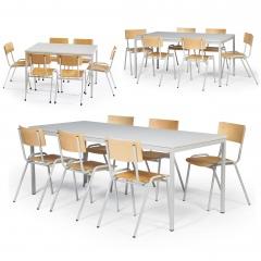 Protaurus Tisch- Stuhl- Kombination ECO aus beschichtetem Stahl/Kunststoff mit Sperrholz in lichtgrau Tischmaß 1200-2000x800mm