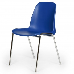 Protaurus Stapelstuhl aus verchromtem Stahl und blauer Sitzfläche aus Kunststoff