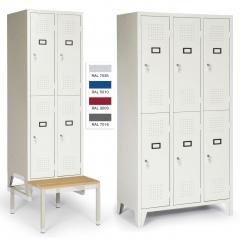 """Protaurus Kleiderschrank """"Portfolio"""" mit 2-4 Doppelabteilen, Zylinderschlössern, festem Sockel, Füßen oder Sitzbank"""