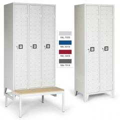"""Protaurus Kleiderschrank """"Portofino deluxe"""" mit 1-4 Abteilen, Zylinderschlössern, Beschriftungsfeldern, festem Füßen oder Sitzbank"""