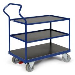 Protaurus ERGOTRUCK-Tischwagen mit 3 Ladeflächen und Schiebebügel 500kg Tragkraft