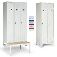 """Protaurus Kleiderschrank """"Portfolio"""" mit 1-4 Abteilen, Zylinderschlössern, festem Sockel, Füßen oder Sitzbank"""