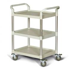 Protaurus Kunststoff- Etagenwagen weiß mit 3 Ladeflächen 680x450mm