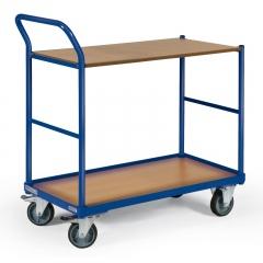 Protaurus Tischwagen mit Bordkante 2 Ladeflächen und schräg abgewinkeltem Schiebegriff 850x500mm
