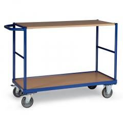 Protaurus Tischwagen mit Bordkante 2 Ladeflächen und waagerechtem Schiebegriff 850x500mm