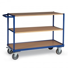 Protaurus Tischwagen mit Bordkante 3 Ladeflächen und waagerechtem Schiebegriff 850x500mm
