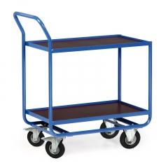 Protaurus Tischwagen Serie R300 2 Etagen mit Bordleisten 15mm Stahl 800x500mm Lufträder Ø200mm