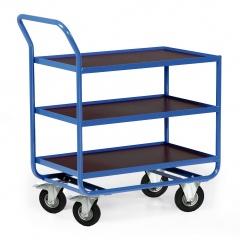 Protaurus Tischwagen Serie R300 3 Ladeflächen mit Bordleisten 15mm Stahl 800x500mm Lufträder Ø200mm