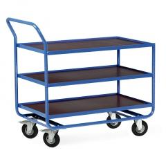 Protaurus Tischwagen Serie R300 mit 3 Ladeflächen und Bordleisten 15mm Stahl 1000x600mm Lufträder Ø200mm