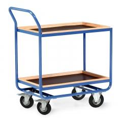 Protaurus Tischwagen Serie R300 2 Etagen mit Bordleisten 30mm Buchenholz 800x500mm Lufträder Ø200mm