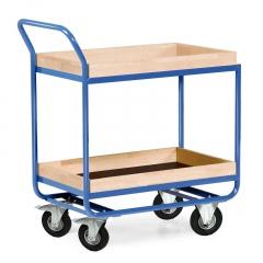 Protaurus Tischwagen Serie R300 2 Etagen mit Bordleisten 75mm Buchenholz 800x500mm Lufträder Ø160mm