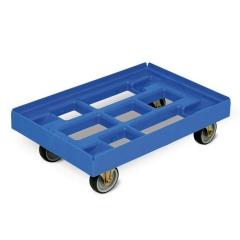 Protaurus Transportroller aus HDPE-Kunststoff in Lichtblau 610x410mm, 2 Lenk- und 2 Bockrollen