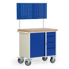 Protaurus Werkbankwagen Serie 300 mit Schrankfach, 4 Schubladen und Lochplatte, 710mm hoch