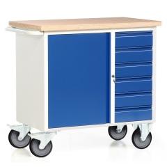 Protaurus fahrbare Werkbank Serie 300 mit Schrankfach und 6 Schubladen