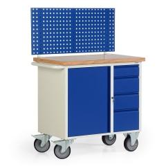 Protaurus Werkbankwagen Serie 300 mit Schrankfach, 4 Schubladen und Lochplatte